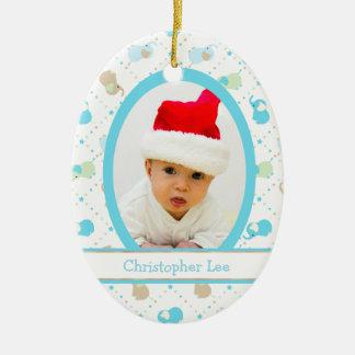 Ornement Ovale En Céramique Modèle photo de Noël d'éléphants de bébé bleu