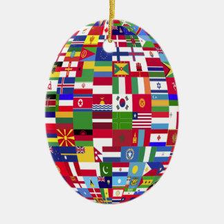Ornement Ovale En Céramique Monde des drapeaux