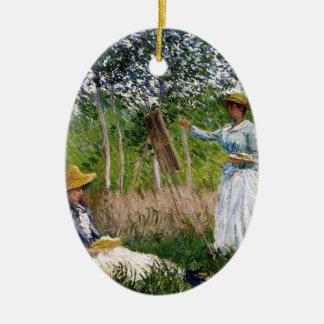 Ornement Ovale En Céramique Monet dans les bois