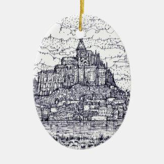 Ornement Ovale En Céramique mont saint-Michel