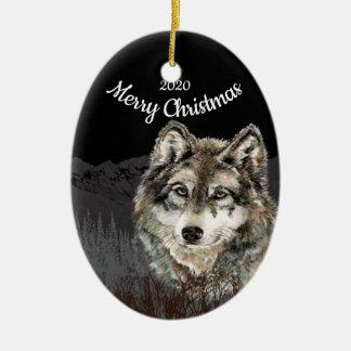 Ornement Ovale En Céramique Montagne datée de loup de Noël de coutume