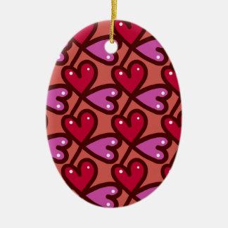 Ornement Ovale En Céramique motif #2 de coeurs