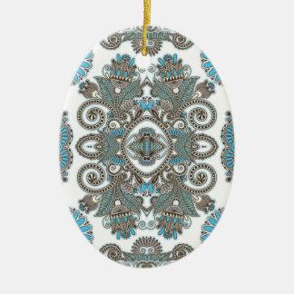 Ornement Ovale En Céramique Motif bleu décoratif