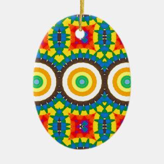 Ornement Ovale En Céramique Motif coloré de point de kaléidoscope