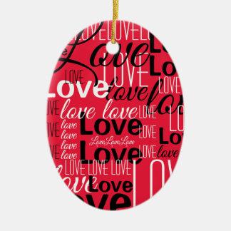 Ornement Ovale En Céramique Motif d'art de mot d'amour