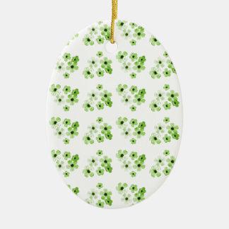 Ornement Ovale En Céramique Motif de fleurs vert