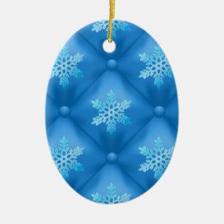 Ornement Ovale En Céramique Motif de flocon de neige de Noël de bleu royal