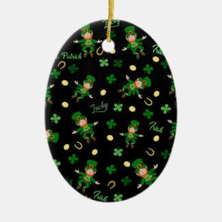 Ornement Ovale En Céramique Motif de Jour de la Saint Patrick