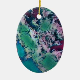 Ornement Ovale En Céramique Motif de marbrure abstrait coloré rouge vert