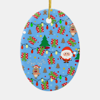 Ornement Ovale En Céramique Motif de Père Noël et de Rudolph