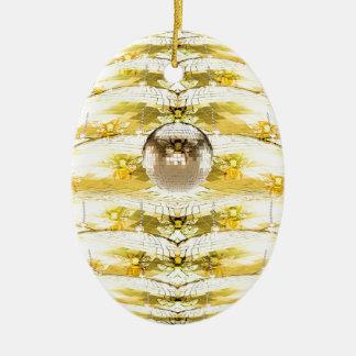 Ornement Ovale En Céramique Motif de ruche d'abeille de boule de disco