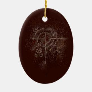 Ornement Ovale En Céramique Motif fantomatique de SteamPunk