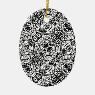 Ornement Ovale En Céramique Motif fleuri noir et blanc