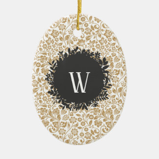 Ornement Ovale En Céramique Motif floral d'or avec le monogramme gris-foncé de