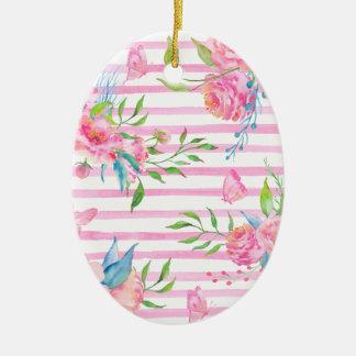 Ornement Ovale En Céramique Motif floral rose d'aquarelle avec des bandes