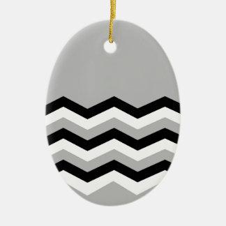 Ornement Ovale En Céramique Motif géométrique abstrait - gris, noir et blanc.