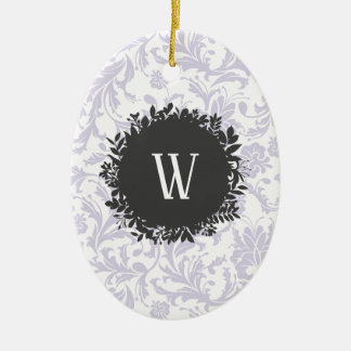 Ornement Ovale En Céramique Motif gris-clair de papier peint floral avec le