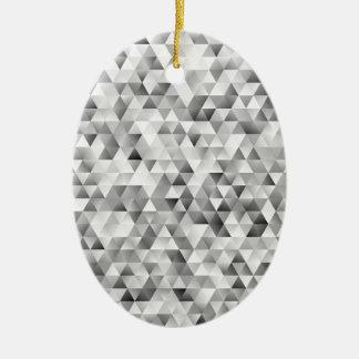 Ornement Ovale En Céramique Motif gris de triangle