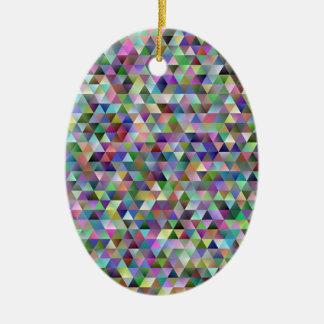Ornement Ovale En Céramique Motif heureux de triangle