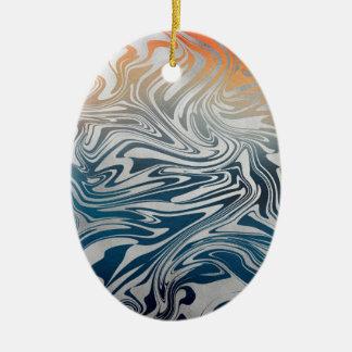 Ornement Ovale En Céramique Motif liquide argenté abstrait