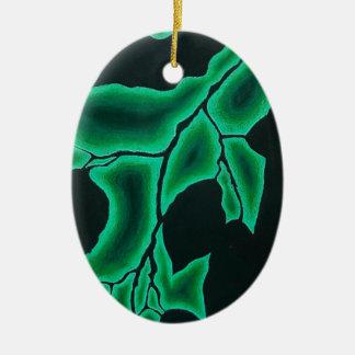 Ornement Ovale En Céramique Motif négatif vert feuillu de l'espace