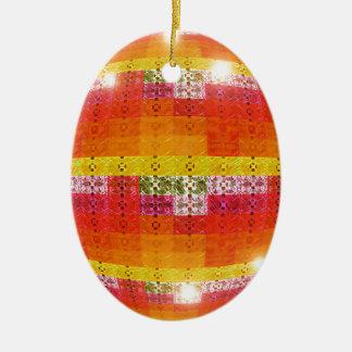 Ornement Ovale En Céramique Motif orange de boule de disco