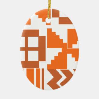 Ornement Ovale En Céramique Motif orange de Khanga