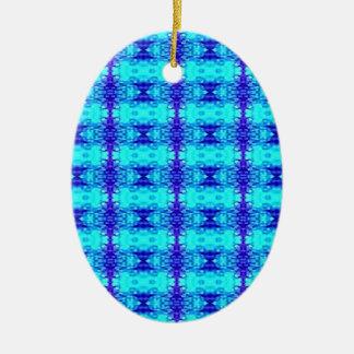 Ornement Ovale En Céramique Motif tribal bleu au néon coloré de bleu royal