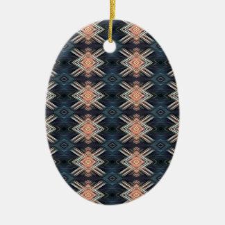 Ornement Ovale En Céramique Motif tribal de charbon de bois de pêche masculine