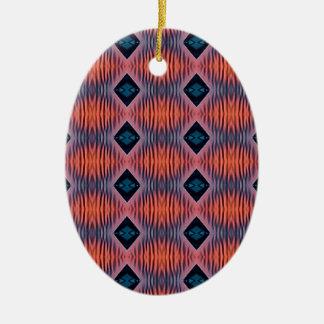 Ornement Ovale En Céramique Motif tribal moderne bleu de pêche texturisée