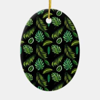 Ornement Ovale En Céramique Motif tropical Tiki floral fait main de feuille