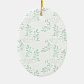 Ornement Ovale En Céramique Motif vert de feuille
