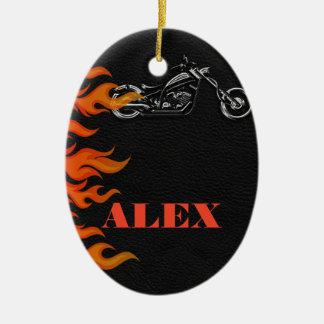 Ornement Ovale En Céramique Moto noire de motard de flammes de cuir et