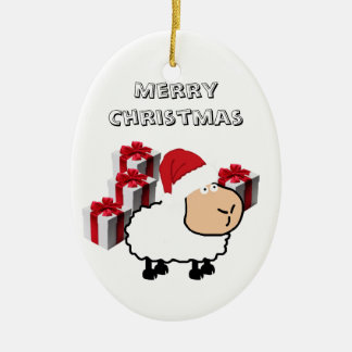 Ornement Ovale En Céramique Moutons mignons lunatiques drôles de Noël