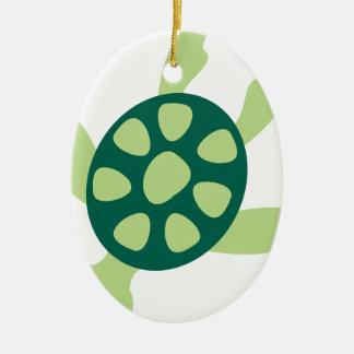 Ornement Ovale En Céramique Natation de tortue verte