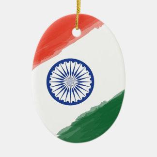 Ornement Ovale En Céramique Nation nationale de pays de l'Inde de drapeau