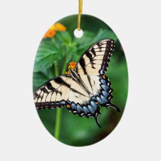 Ornement Ovale En Céramique Nature de vert de fleur d'été de papillon florale