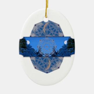 Ornement Ovale En Céramique Nature sacrée de lune de la géométrie