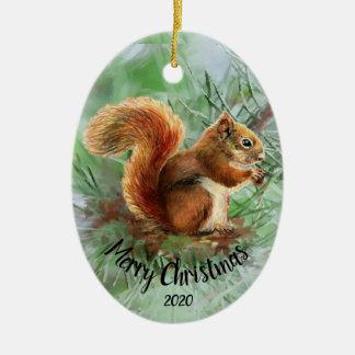 Ornement Ovale En Céramique Noël animal d'écureuil daté d'aquarelle Joyeux