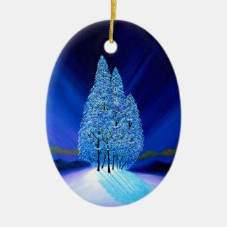 Ornement Ovale En Céramique Noël bleu sept d'arbres impeccables