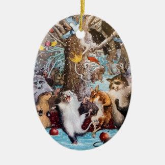 Ornement Ovale En Céramique Noël dans l'ornement animal drôle en bois