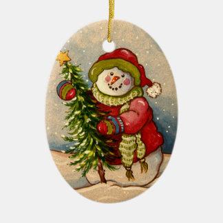 Ornement Ovale En Céramique Noël de 4889 bonhommes de neige