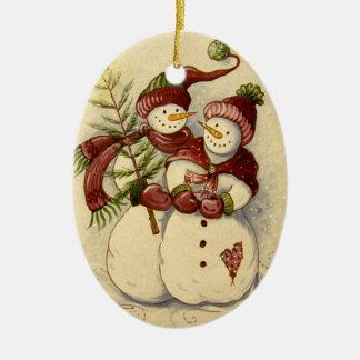 Ornement Ovale En Céramique Noël de 4924 bonhommes de neige