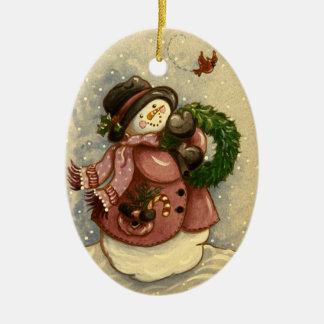Ornement Ovale En Céramique Noël de cardinal de guirlande de 4886 bonhommes de