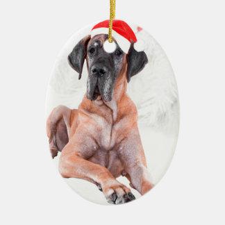 Ornement Ovale En Céramique Noël de casquette de chien de great dane Joyeux