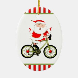 Ornement Ovale En Céramique Noël de cycliste
