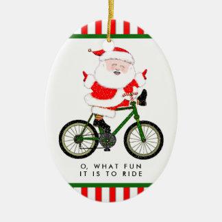 Ornement Ovale En Céramique Noël de cycliste collectable