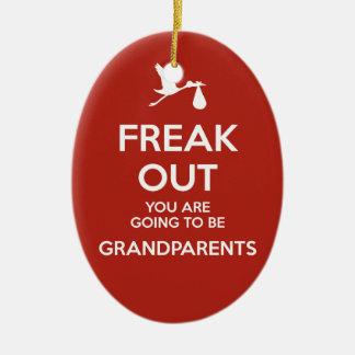 Ornement Ovale En Céramique Noël de grands-parents de faire-part de grossesse