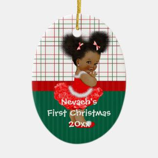 Ornement Ovale En Céramique Noël de la fille d'Afro-américain premier