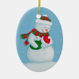 Ornement Ovale En Céramique Noël de maman de neige et de bébé de neige